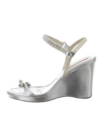 Prada Sport Silver-Tone Multistrap Wedges None