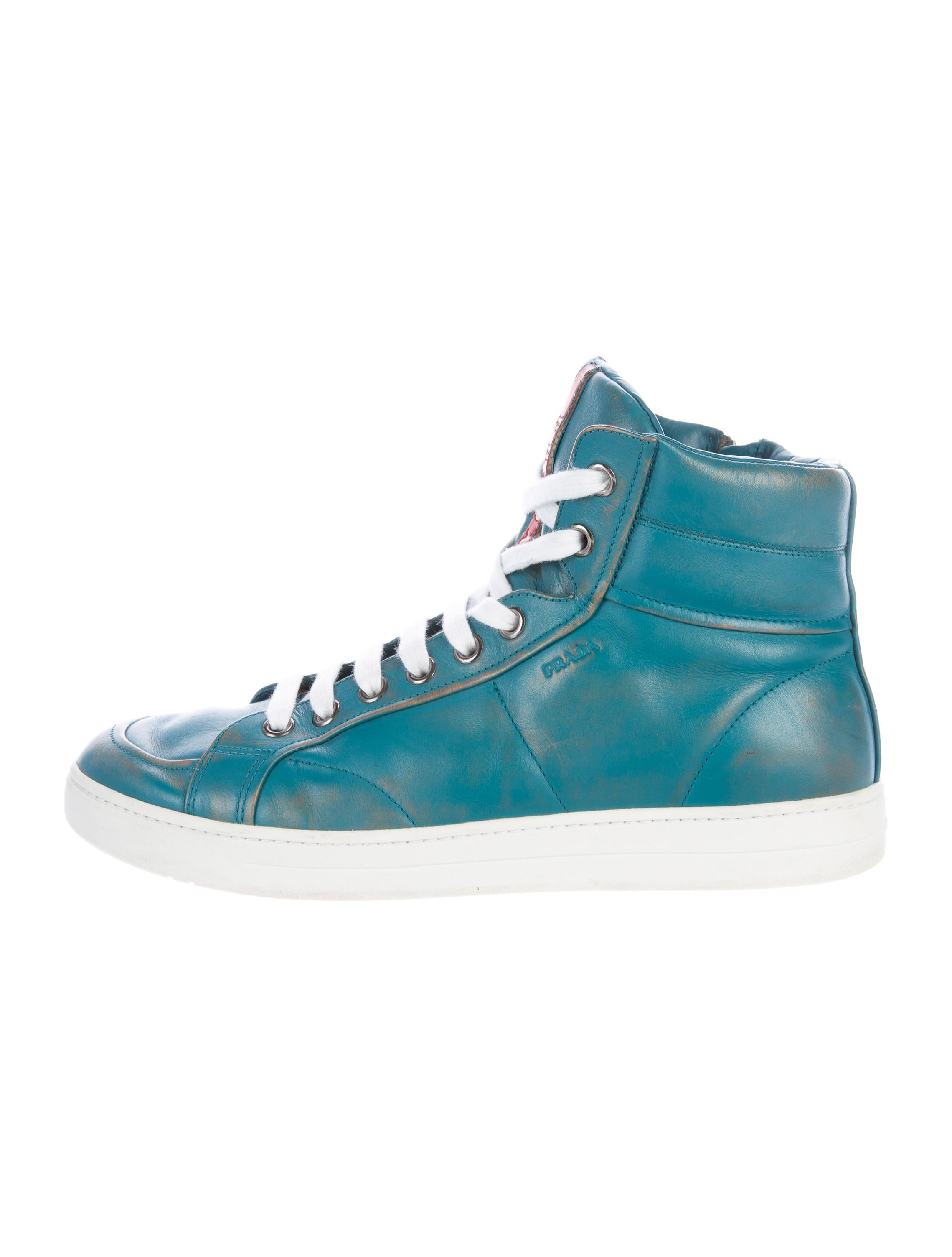 prada sport leather high top sneakers shoes wpr38655