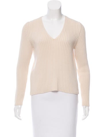Prada Sport Rib Knit V-Neck Sweater None