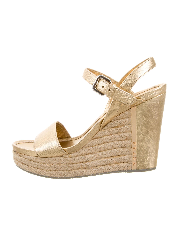 prada sport metallic wedge sandals shoes wpr38860