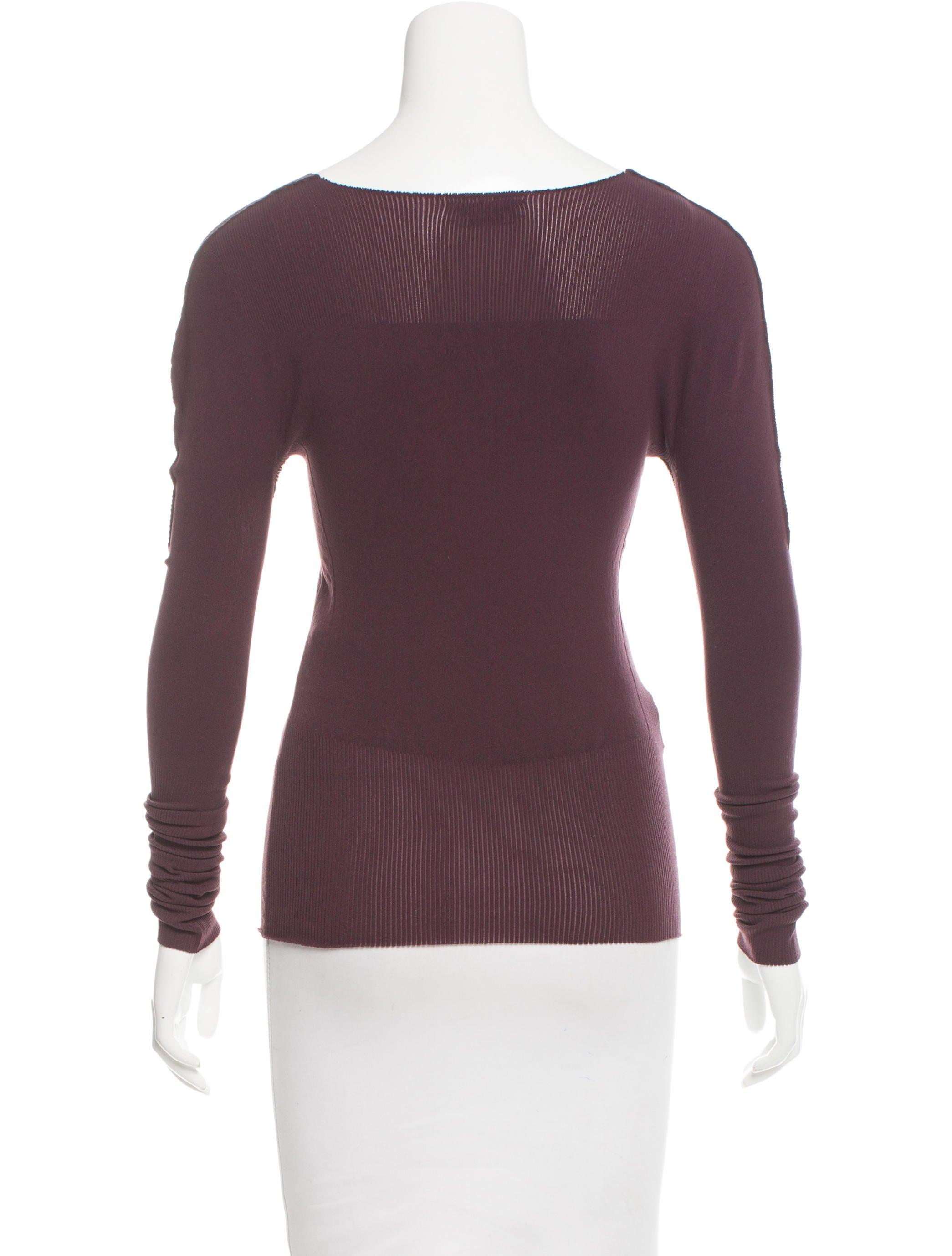 Prada sport raw edge rib knit top clothing wpr38992 for Raw edge t shirt women s