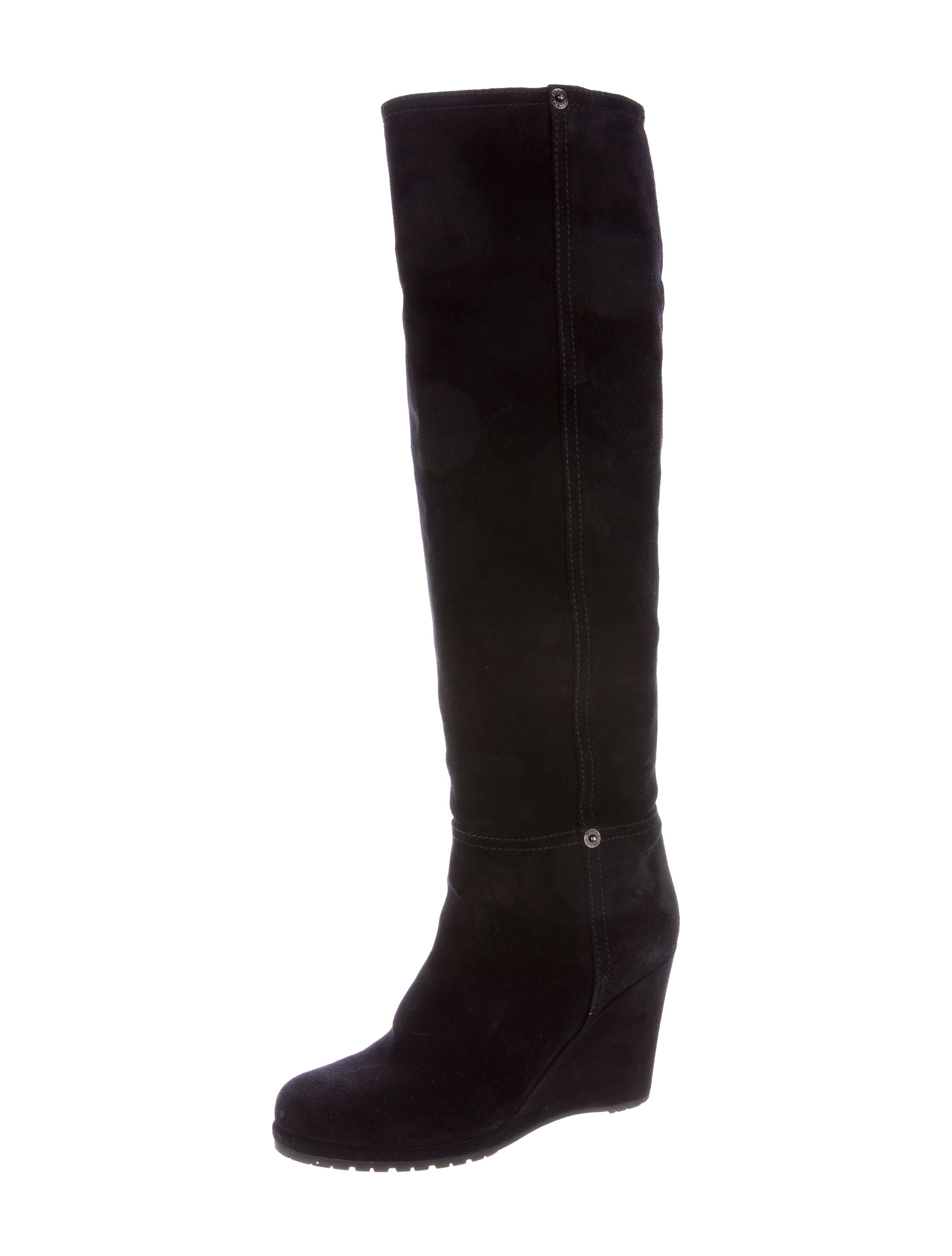 prada sport suede wedge knee high boots shoes wpr39300