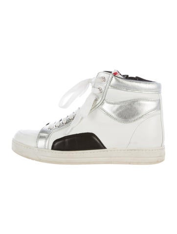 Black Shoes High Top White Soles Prada