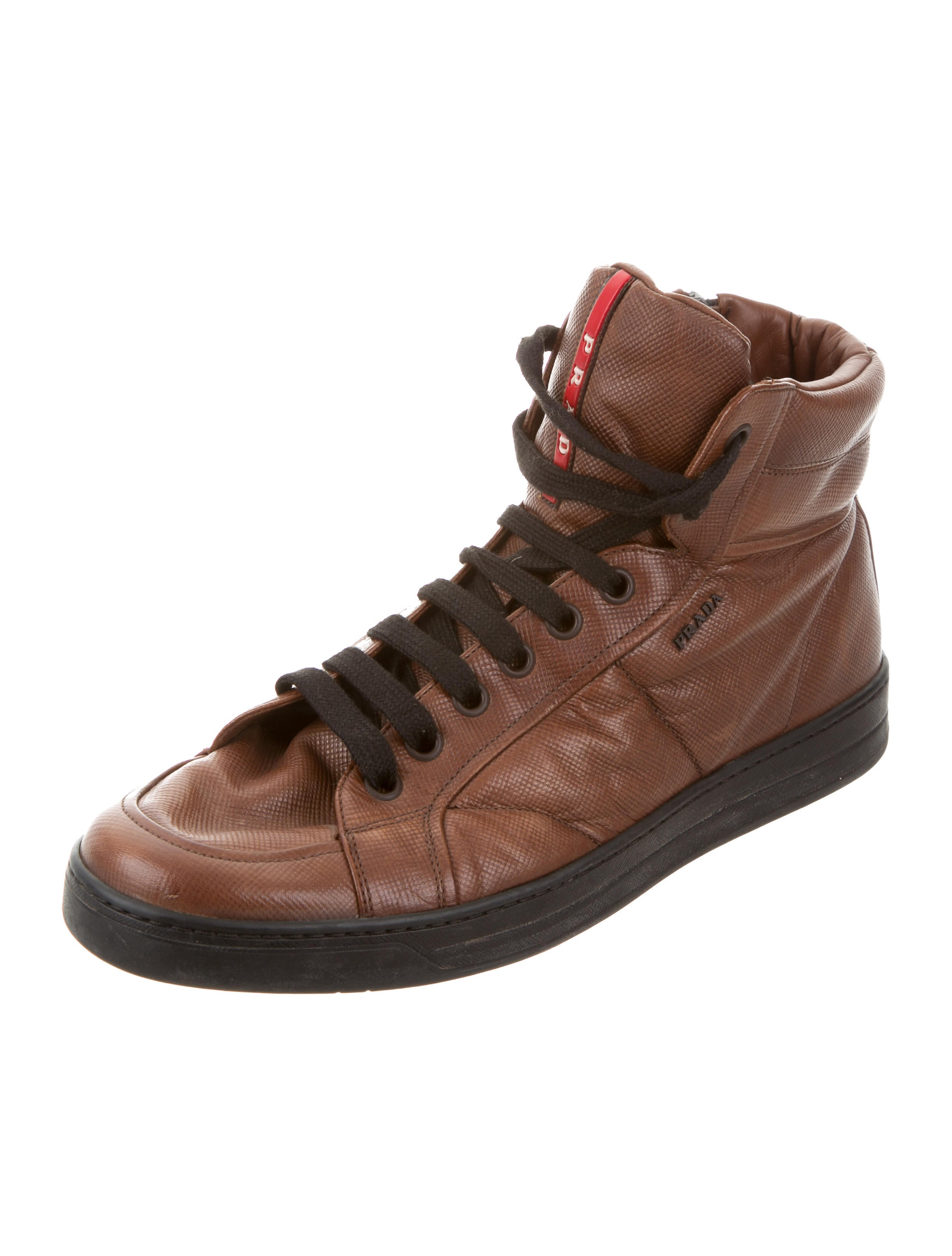 prada sport leather high top sneakers shoes wpr39803