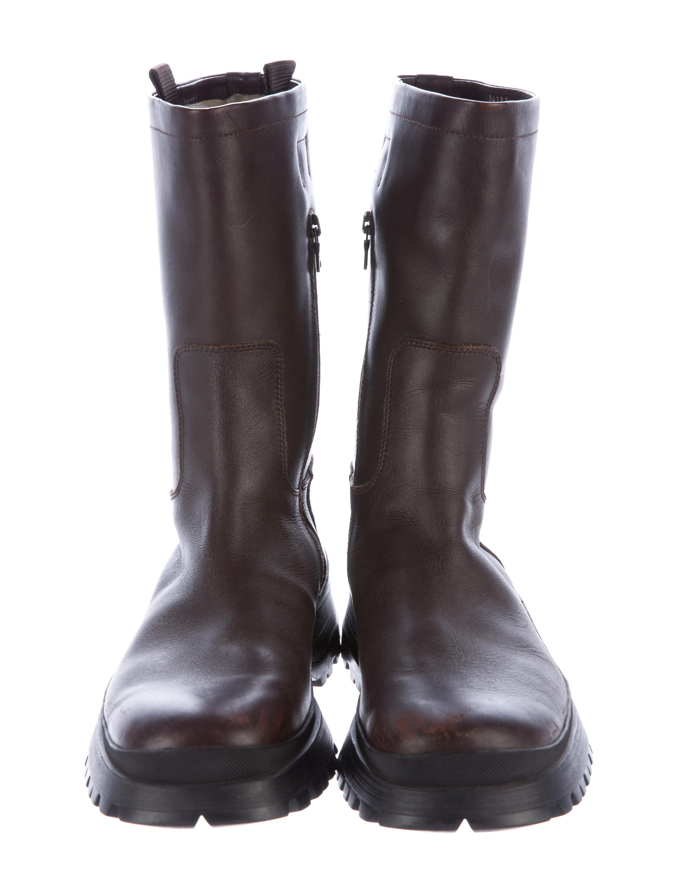 Contemporary Flatware Prada Sport Shearling Lined Leather Boots Shoes