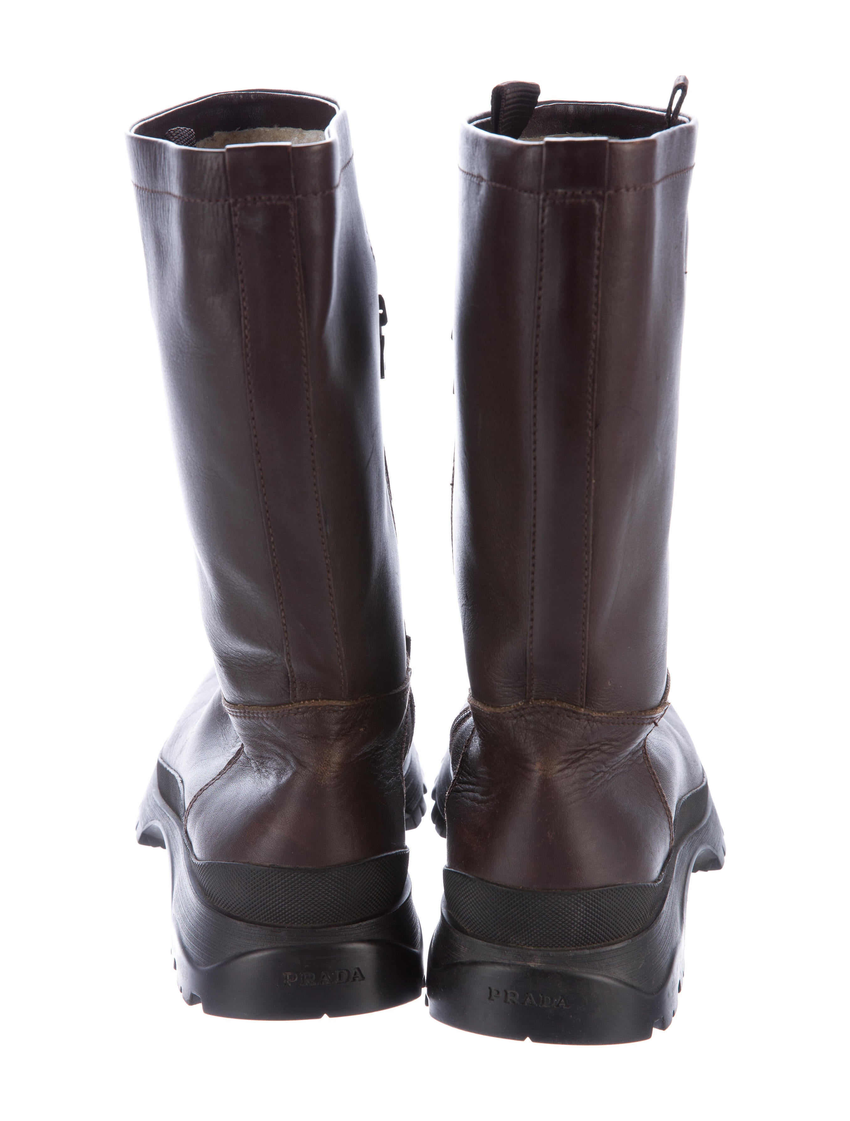 prada sport shearling lined leather boots shoes