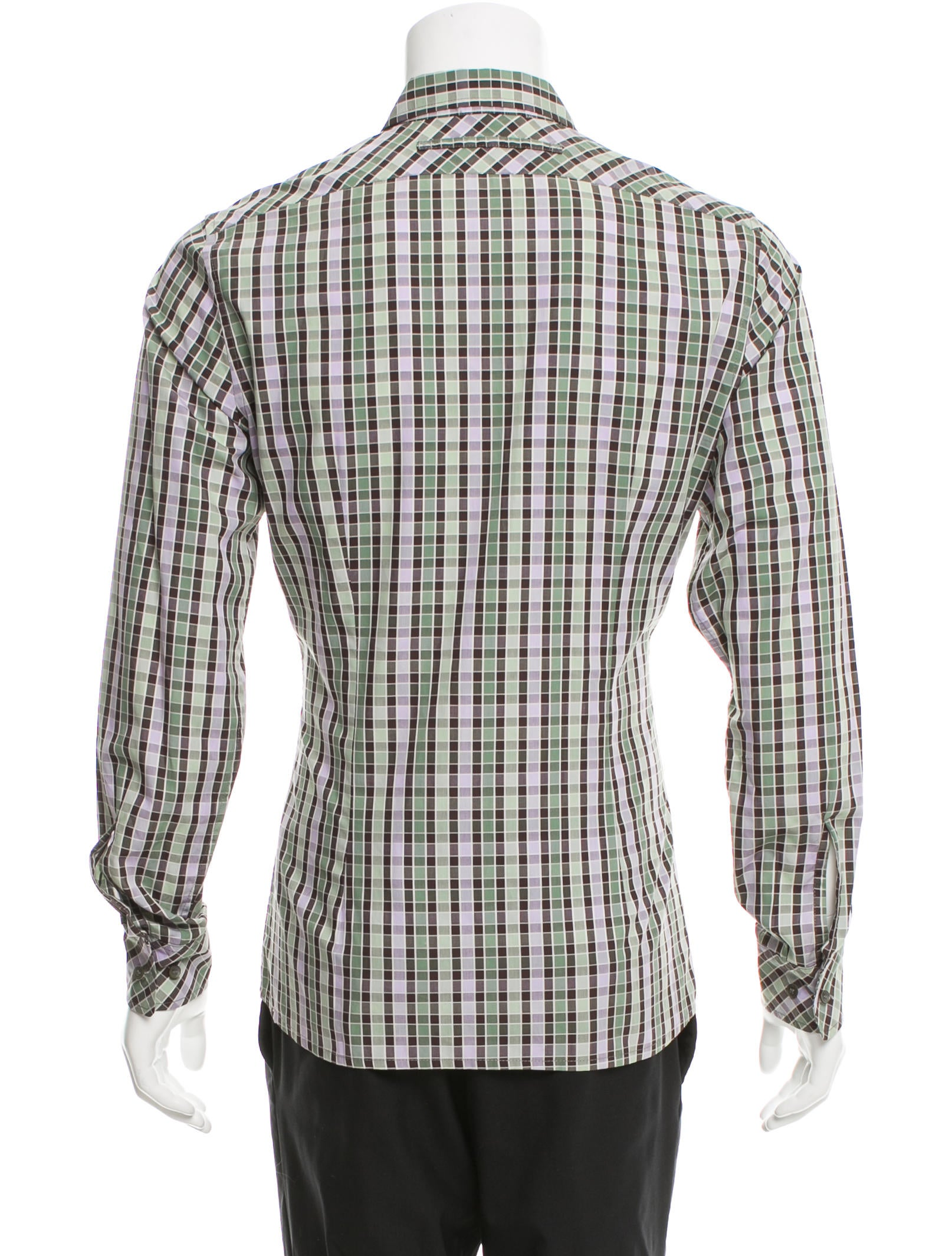Prada sport checkered print button up shirt clothing for Button up collared sport shirts
