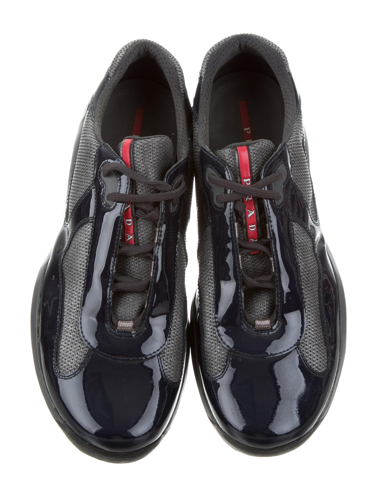 Contemporary Flatware Prada Sport America S Cup Patent Leather Sneakers Shoes
