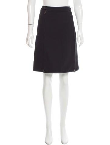 Prada Sport Leather-Trimmed Knee-Length Skirt None