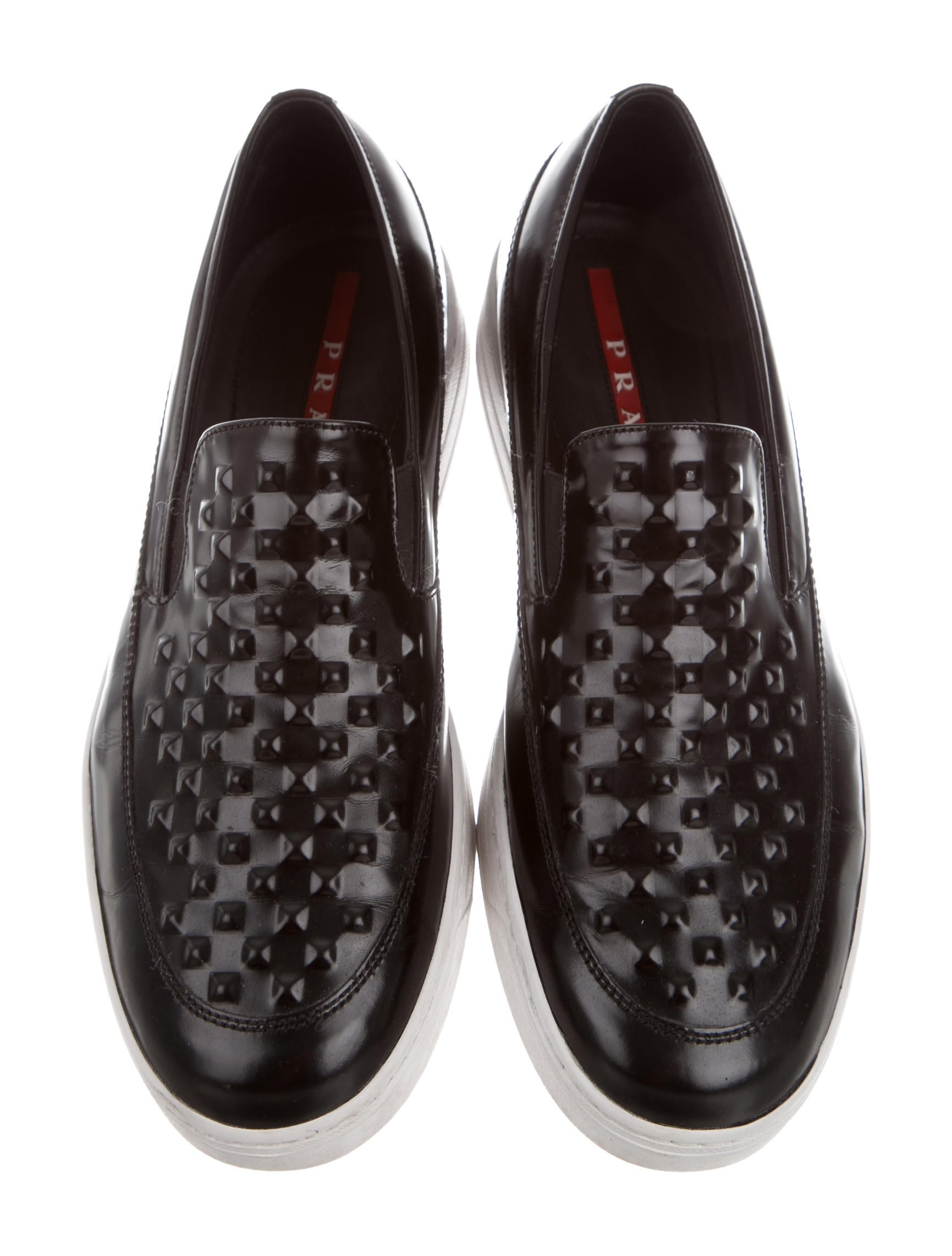 prada sport studded leather slip on sneakers shoes
