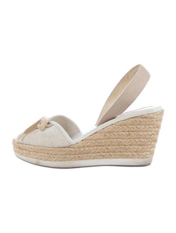 Prada Sport Canvas Espadrille Wedge Sandals None