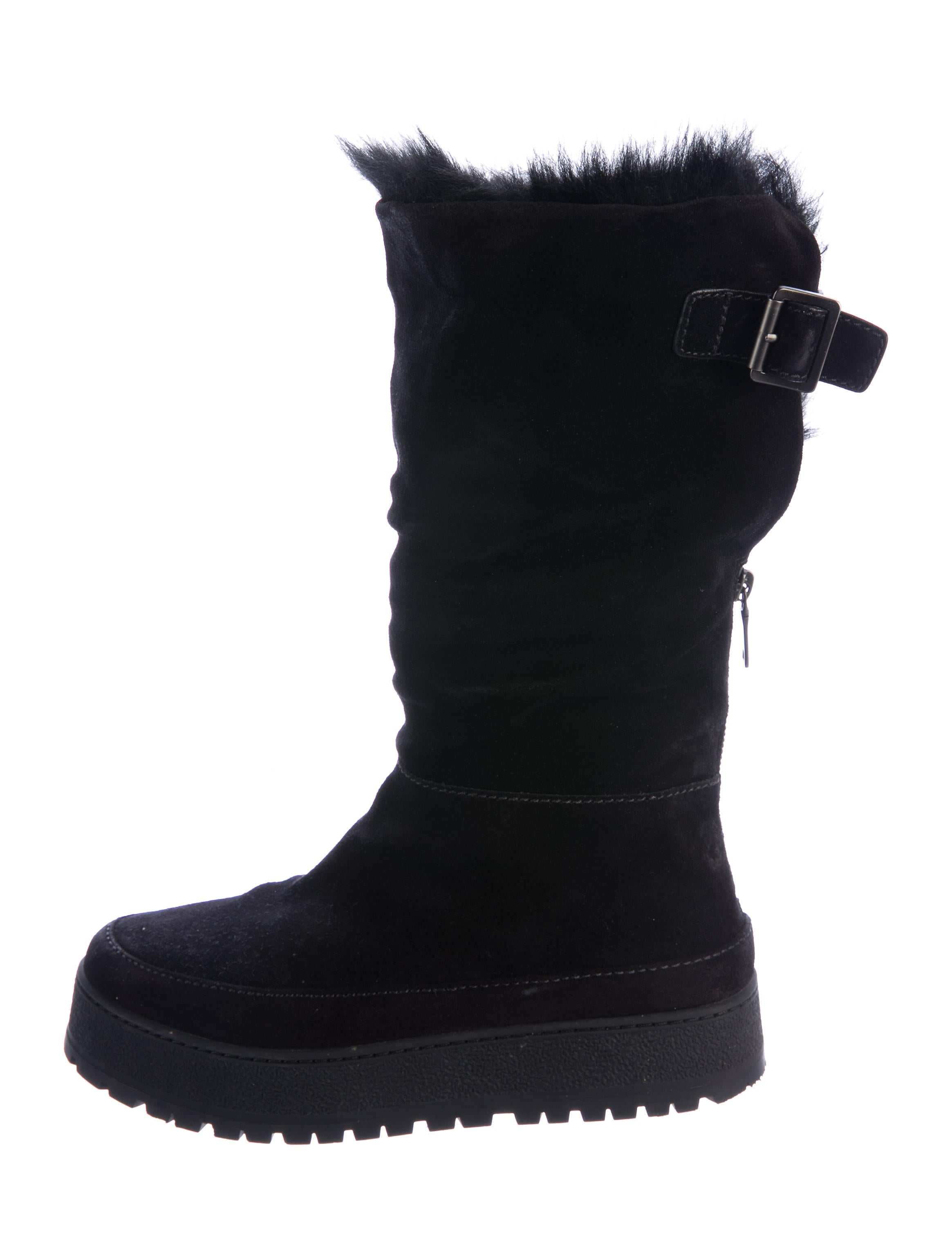prada sport fur trimmed suede ankle boots shoes