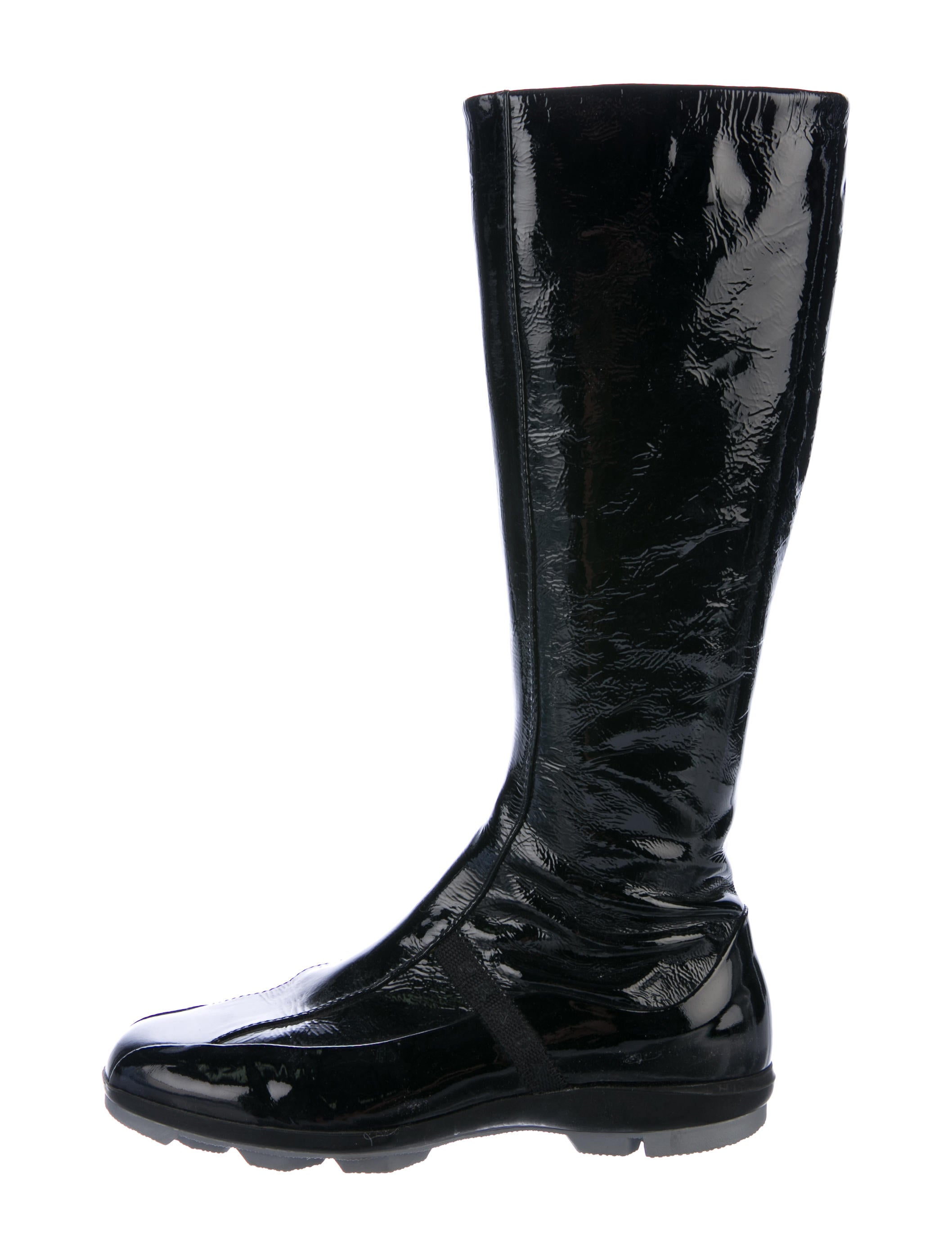 prada sport patent leather knee high boots shoes