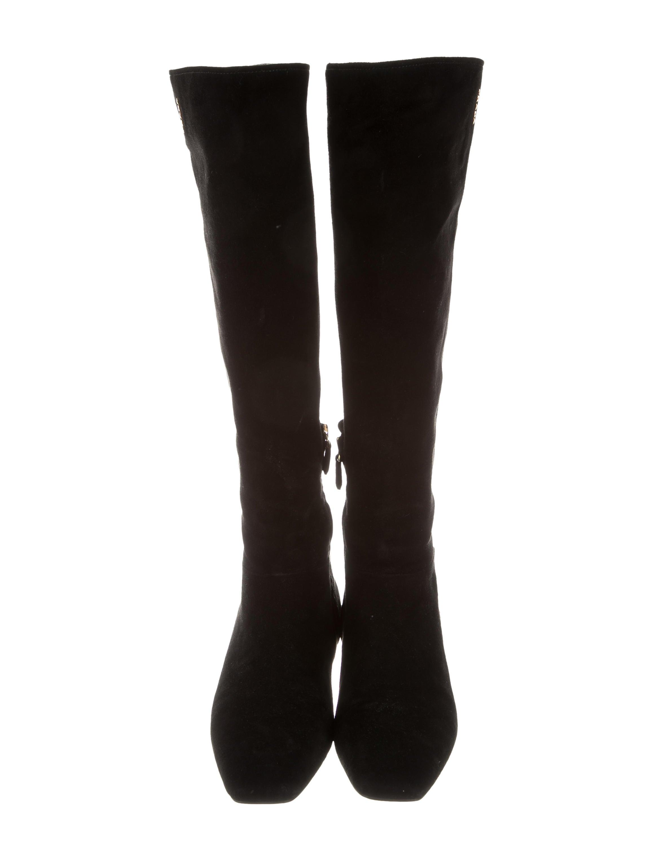 prada sport suede wedge knee boots shoes wpr43950