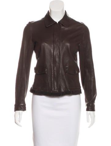 Prada Sport Leather Zip-Up Jacket None