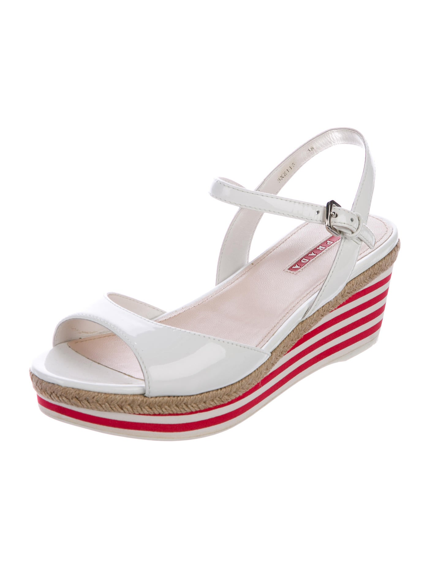 prada sport patent leather wedge sandals shoes