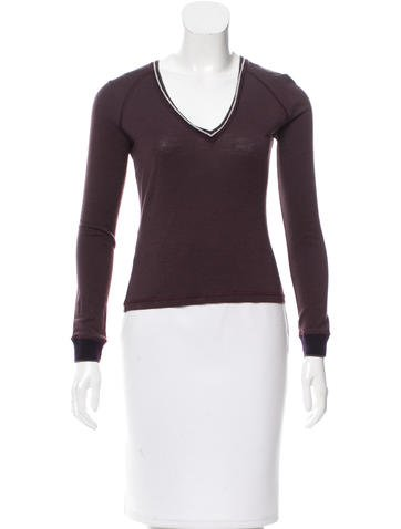 Prada Sport Wool V-Neck Top None