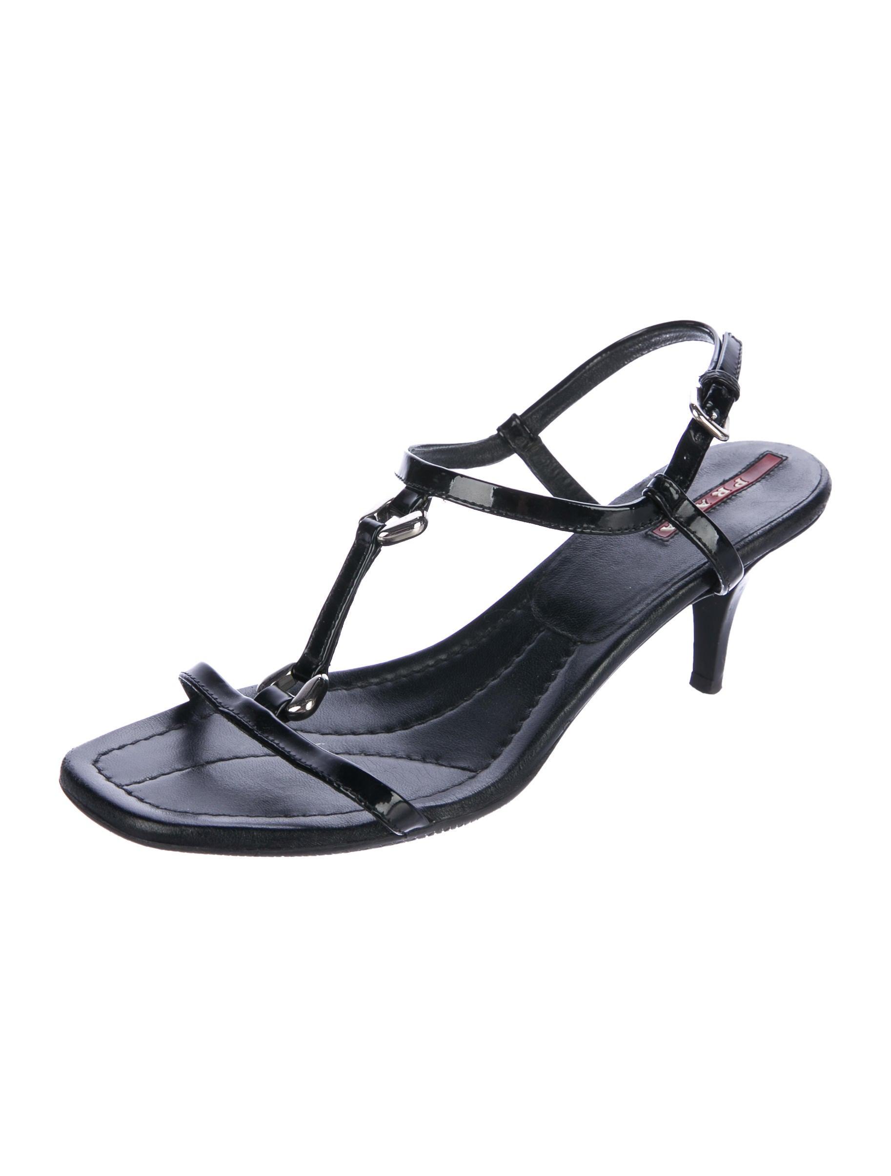 Prada Sport Patent Leather T-Strap Sandals buy cheap Manchester RkrwWIM