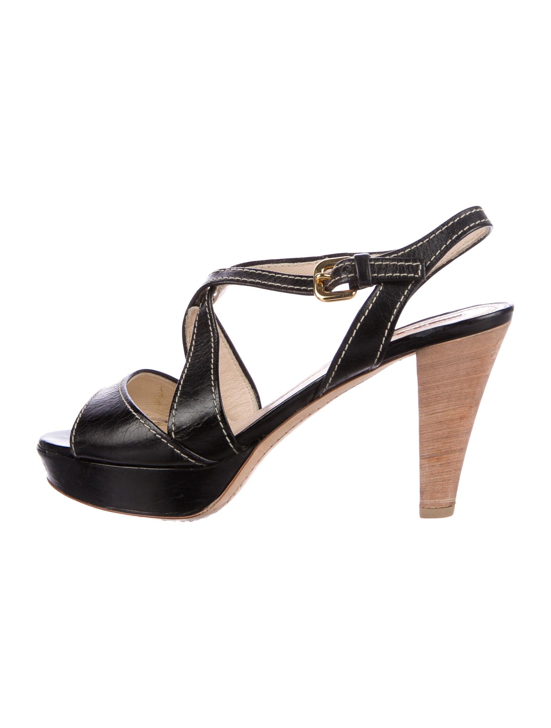 Prada Sport Leather Slingback Sandals explore cheap cost 7Ajx1