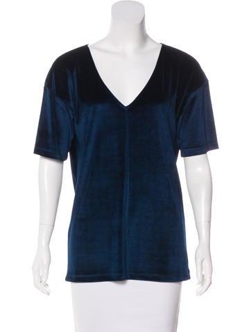 Prada Sport Velvet Short Sleeve Top None