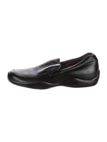 newest sale online Prada Sport Leather Round-Toe Oxfords 100% original online largest supplier QSDVH5put