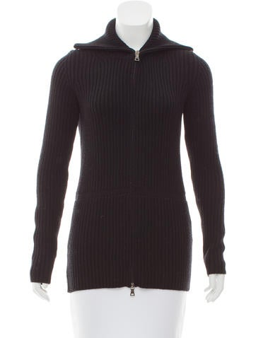 Prada Sport Rib Knit Wool Cardigan None