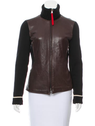 Prada Sport Wool-Accented Leather Jacket None