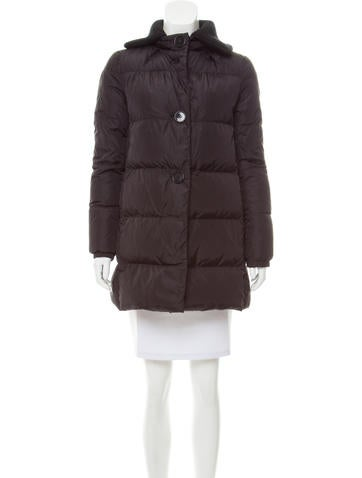 Prada Sport Rib Knit-Trimmed  Down Coat None