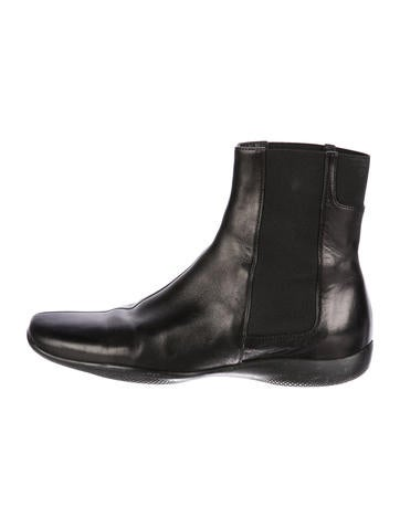 outlet store cheap online Prada Sport Leather Round-Toe Ankle Boots cheap sale pre order outlet low shipping buy cheap manchester great sale cheap shop for DA9obn