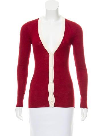 Prada Sport Virgin Wool Rib Knit Cardigan None