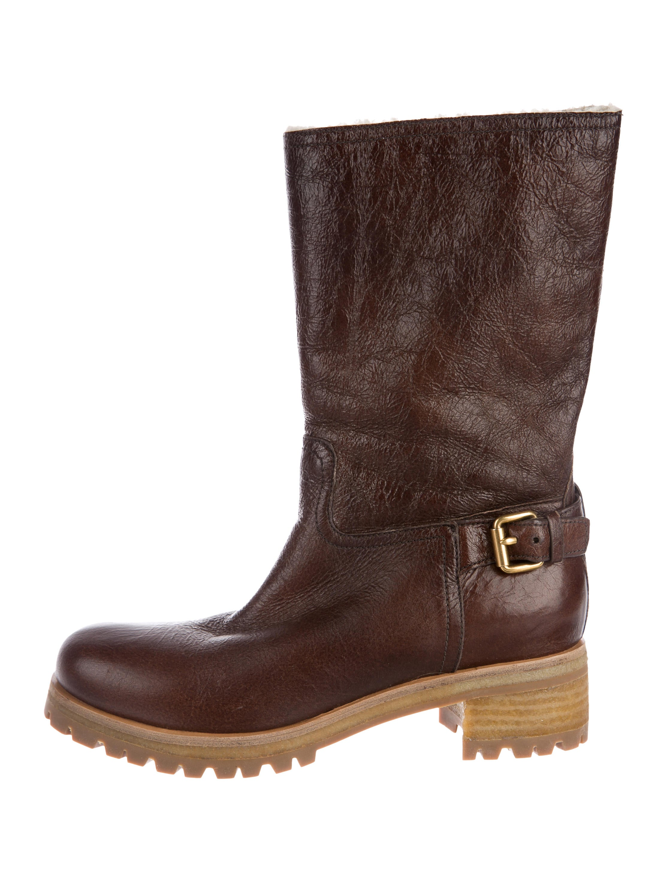 clearance classic Prada Sport Leather Mid-Calf Boots free shipping low price fee shipping qSMHK