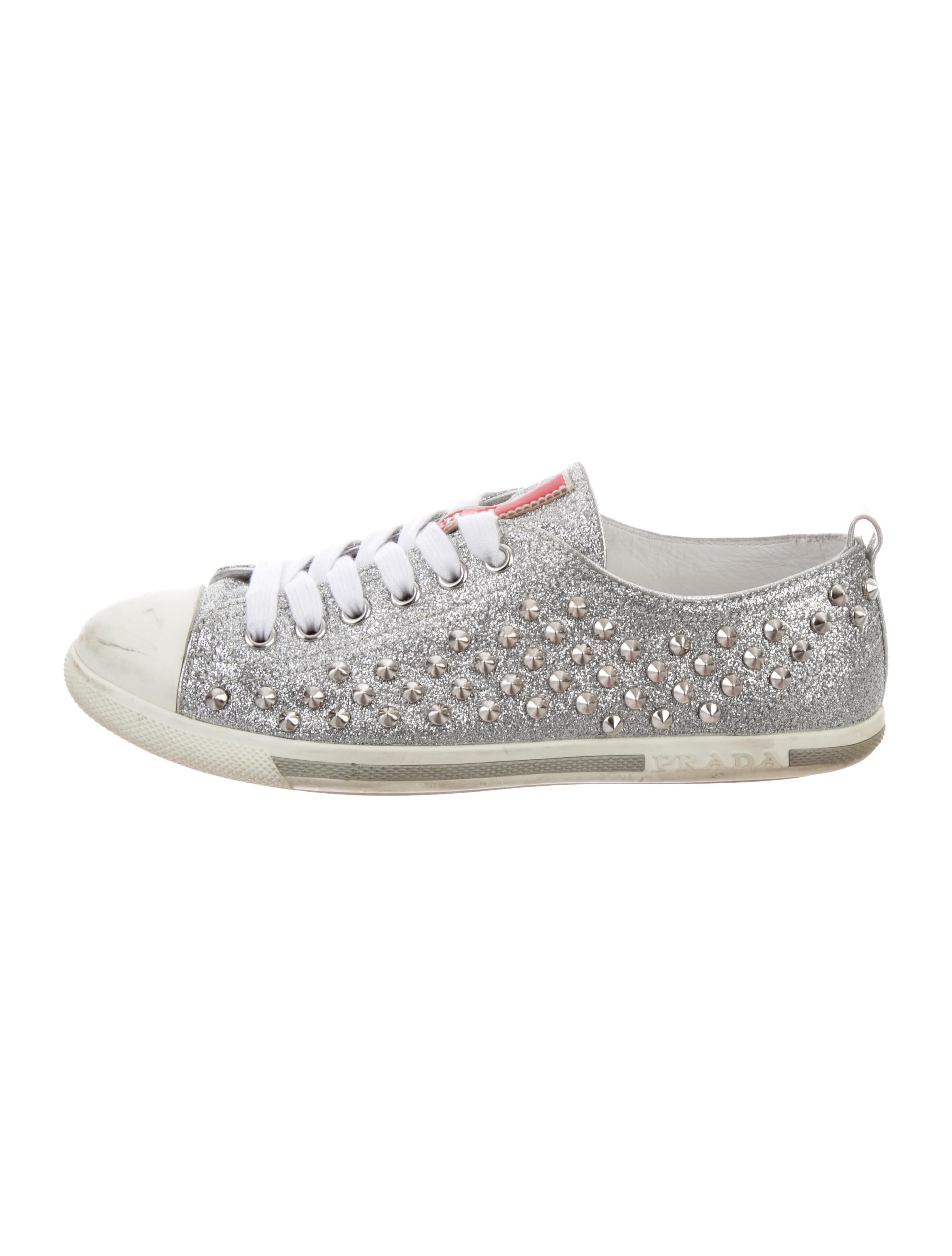 Prada Sport Glitter Spiked Sneakers visit new online supply 100% original cheap online P2pg7