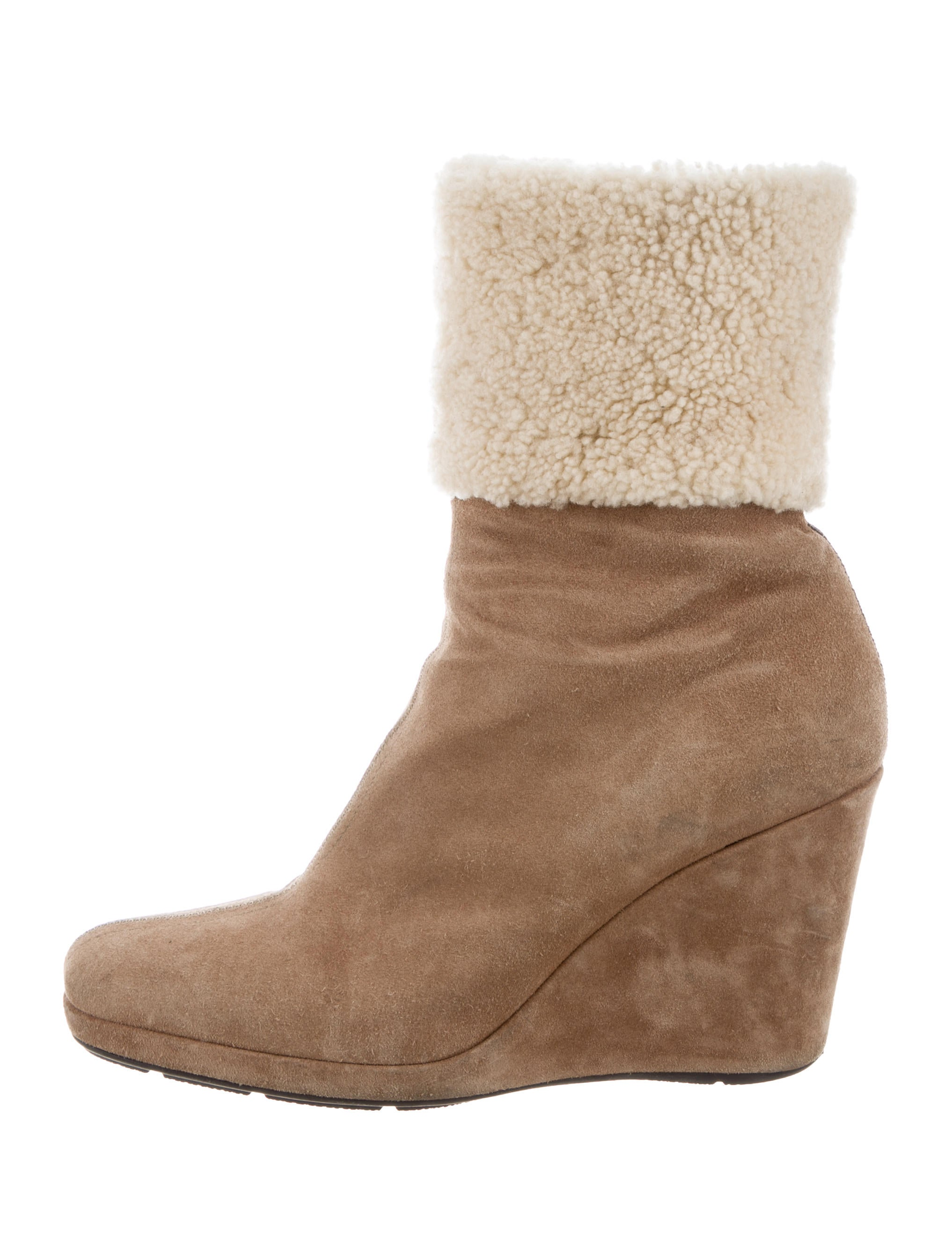 Prada Sport Shearling-Trimmed Wedge Ankle Boots cheap sale pay with visa sale sneakernews low shipping online oniMrhl