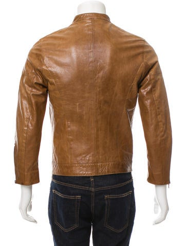 Leather Zip-Up Cafe Racer Jacket