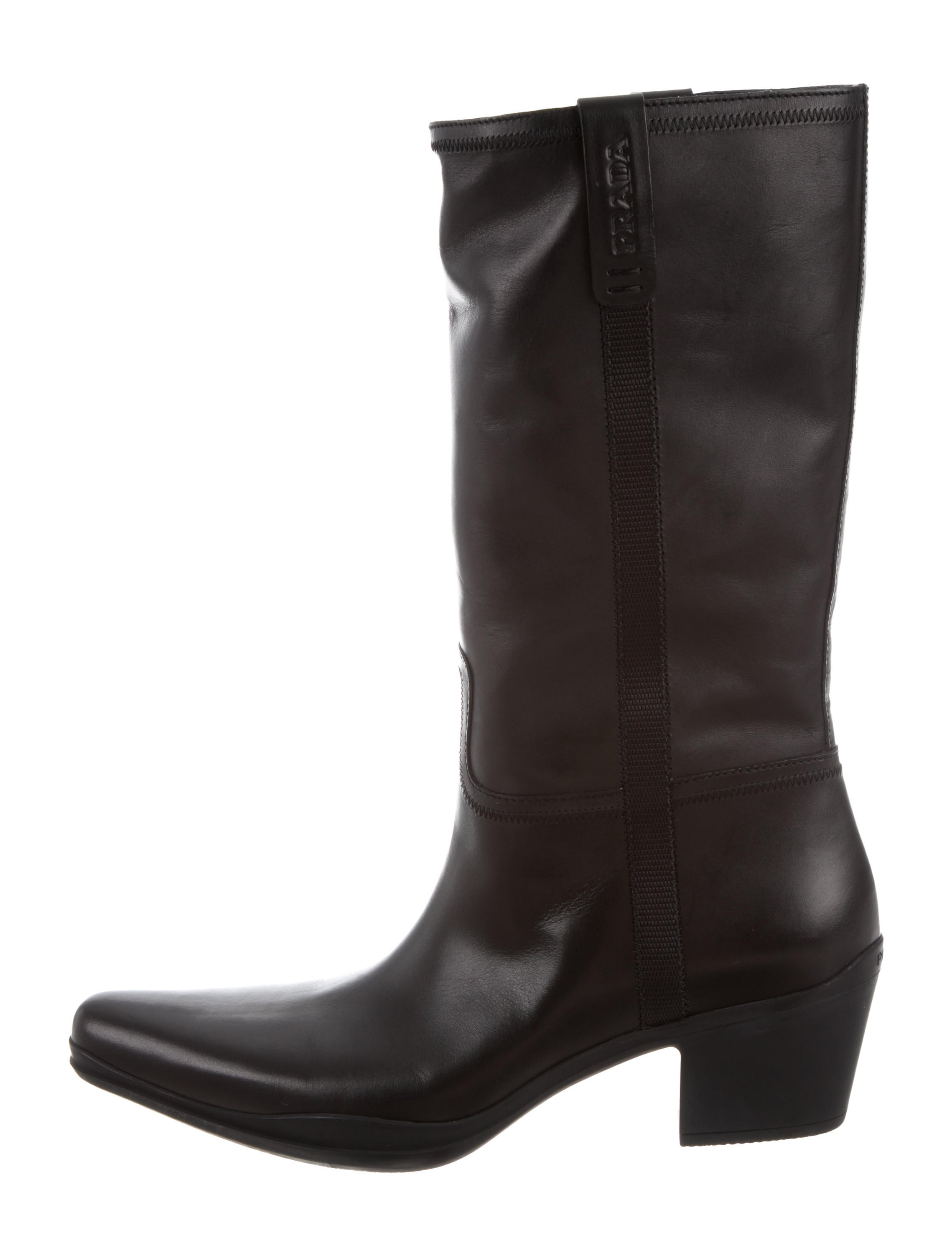 Prada Mid-Calf Leather Boots w/ Tags outlet fashion Style fh0CQR