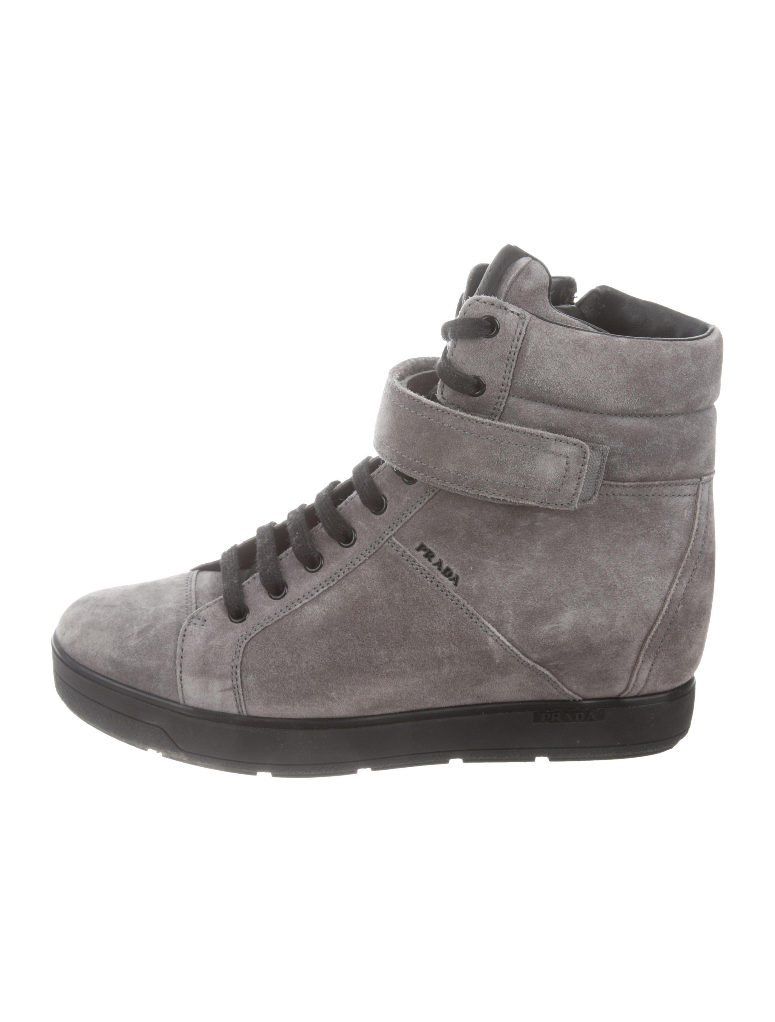 cba77f98c225 Prada Sport Suede Wedge Sneakers - Shoes - WPR62065