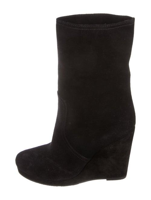 Prada Sport Round-Toe Wedge Boots Black
