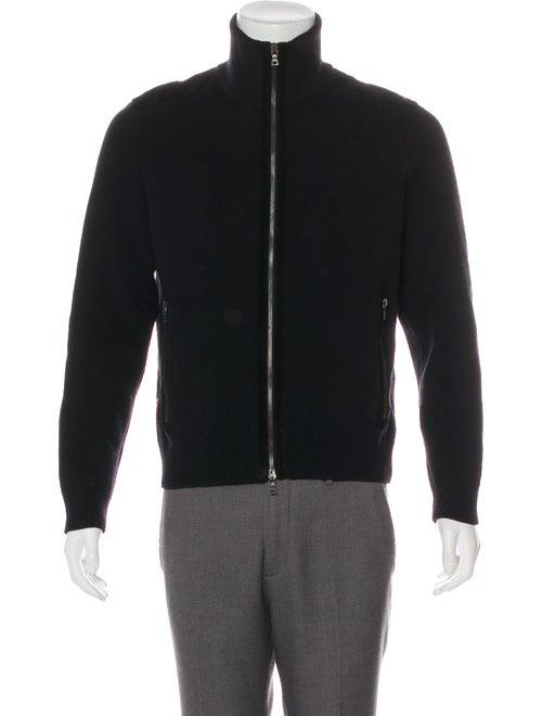 Prada Sport Suede-Trimmed Wool Sweater black