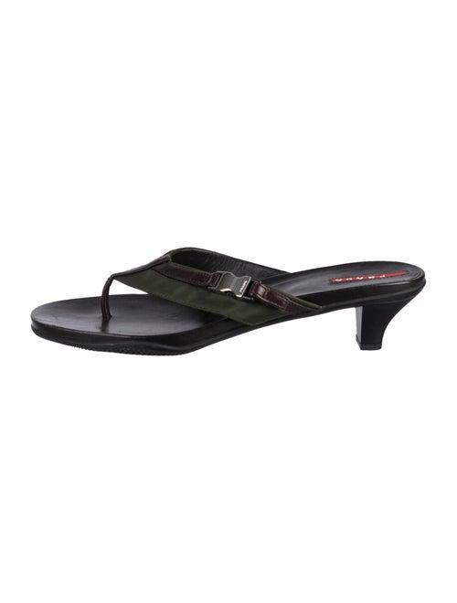 Prada Sport Leather Flip Flops Black