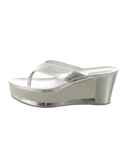 Prada Sport Leather Sandals Metallic