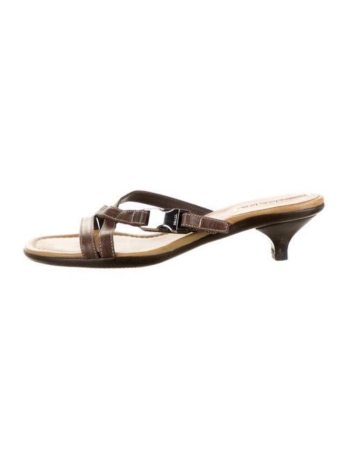 Prada Sport Leather Slides Brown