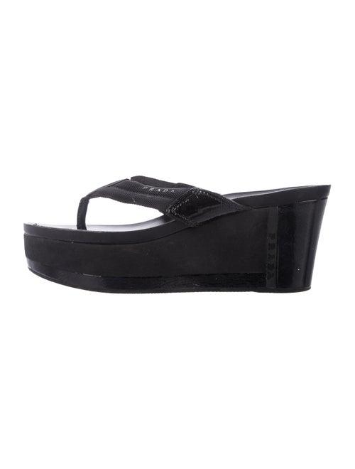 Prada Sport Platform Wedge Sandals Black