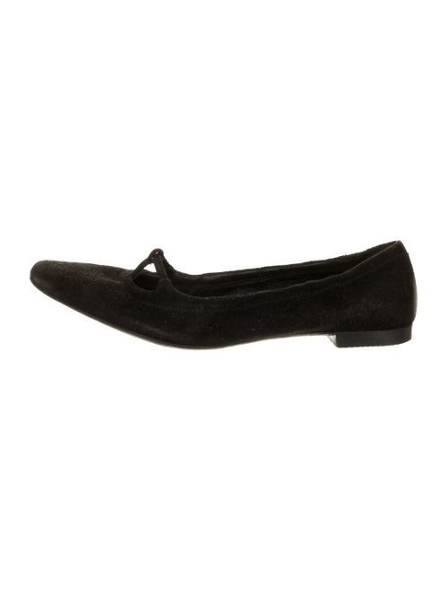 Prada Sport Suede Square-Toes Flats Black
