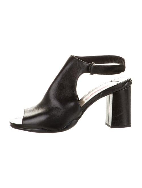 Prada Sport Leather Peep-Toe Sandals Black