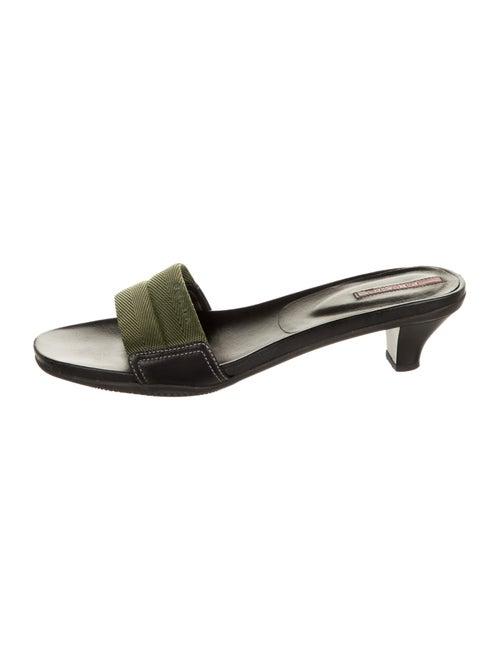 Prada Sport Canvas Slide Sandals Olive