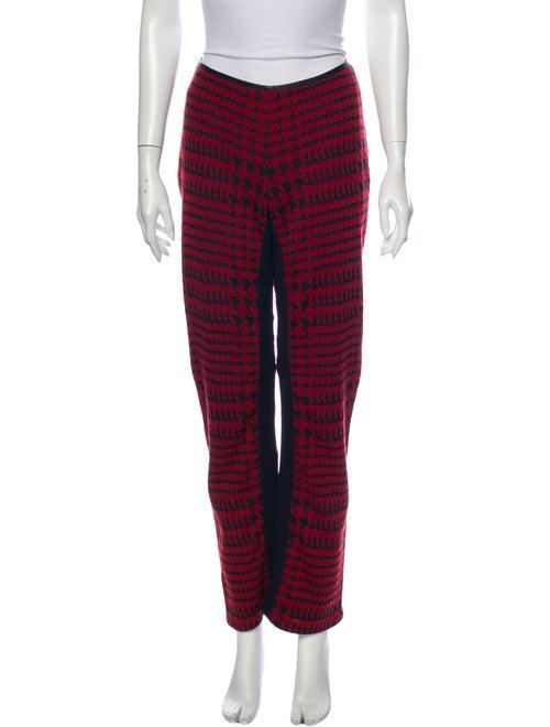 Prada Sport Houndstooth Print Wide Leg Pants Red