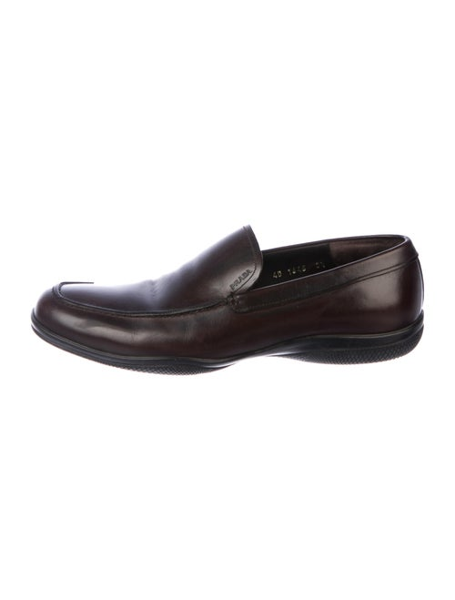 Prada Sport Leather Loafers Brown