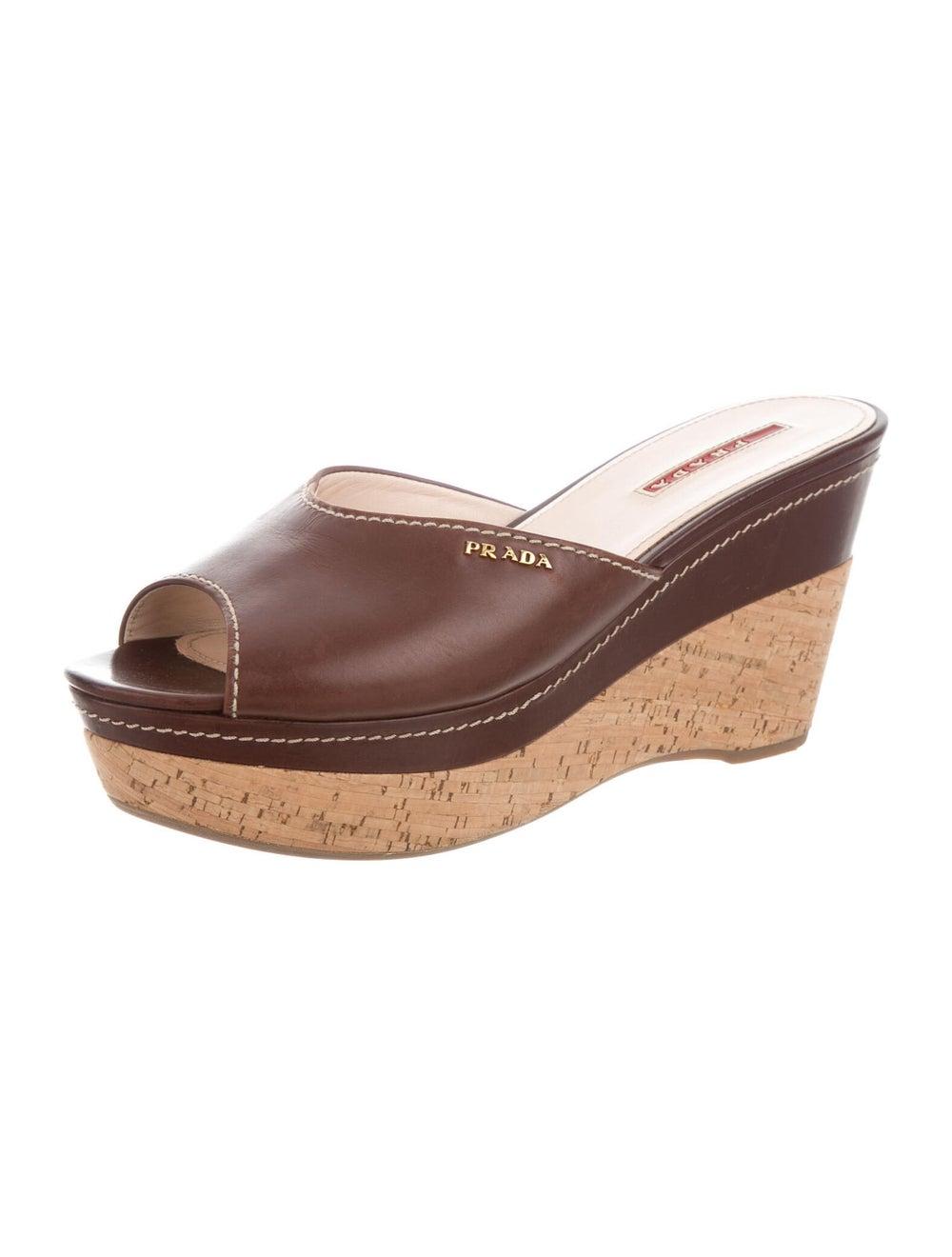 Prada Sport Leather Slides Brown - image 2