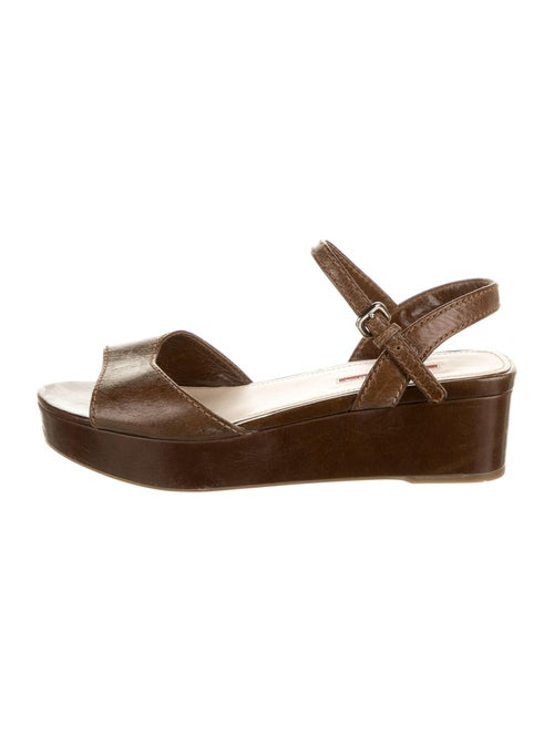 Prada Sport Leather Sandals Brown