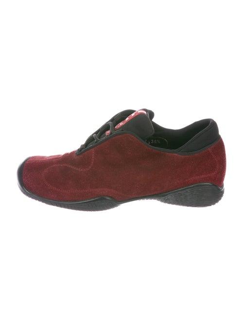 Prada Sport Suede Colorblock Pattern Sneakers